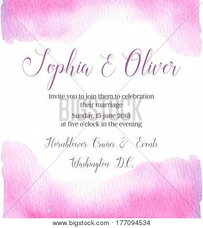 Hand drawn vector watercolor illustration. Wedding invitation with abstract watercolor splash. Ready to use card. Save the date. Perfect for invitations greeting cards blogs posters and more