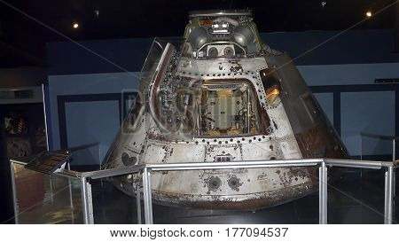 PENSACOLA, FLORIDA - OCTOBER 19, 2016: The Skylab II Apollo Command Module, the first manned mission to the space station, is on display at the Naval Aviation Museum in Pensacola, Florida.