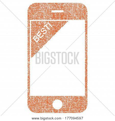 Best Telephone vector textured icon for overlay watermark stamps. Fabric orange vectorized texture. Symbol with dirty design. Rubber seal stamp with fiber textile structure.