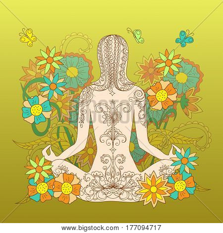 Silhouette sitting in yoga lotus pose tattoo girl with hand drawn floral pattern on backdrop for decorate visit card posters yoga classes courses banners. eps 10.