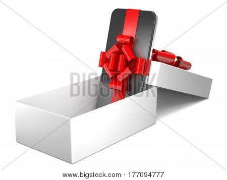 Gift mobile phone in box on white background (3d illustration).