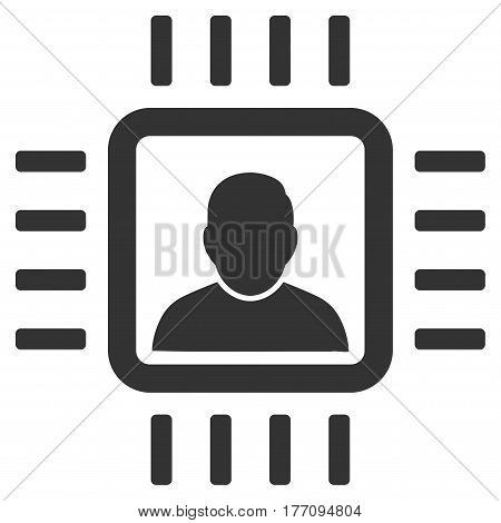 Neuro Processor vector icon. Flat gray symbol. Pictogram is isolated on a white background. Designed for web and software interfaces.