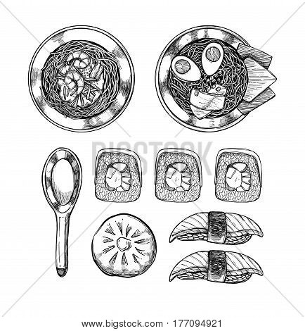 Hand Drawn Vector Illustrations - Asian Cuisine. Ramen And Some Asian Dishes. Perfect For Restaurant