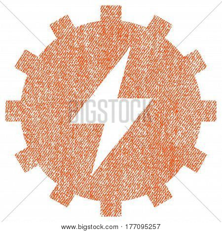 Electric Energy Gear vector textured icon for overlay watermark stamps. Fabric orange vectorized texture. Symbol with dirty design. Rubber seal stamp with fiber textile structure.