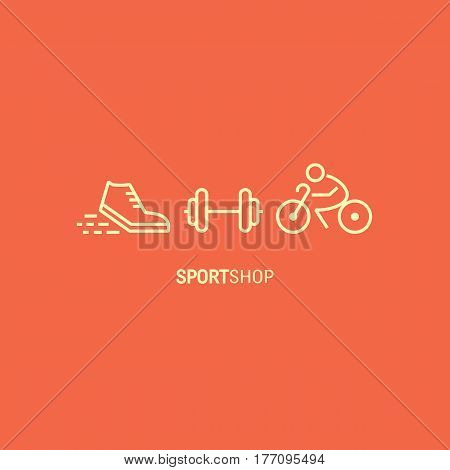 Vector sport shop concept  made in trendy linear style. Shoe, barbbell, bicycle. Sport emblem.