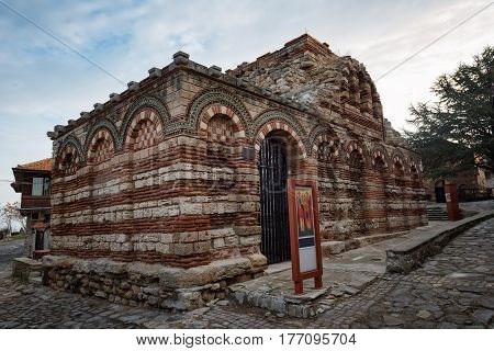 NESEBAR, BULGARIA - February 05, 2017: Church of the Holy Archangels Michael and Gabriel. In 1956 Nesebar was declared as museum city, archaeological and architectural reservation by UNESCO.