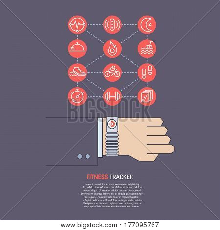 Vector fitness tracker on the wrist. Sport illustration in flat linear style with icons. Fitness device for monitoring sport activity, burning of calories, sleep, steps, heartbeat. Sport line icons.