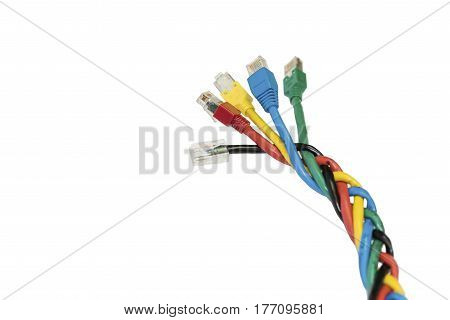 Multi colored ethernet cables on a white background. Network equipment accessories