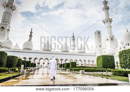 Arabian man at Sheikh Zayed Grand Mosque in Abu Dhabi