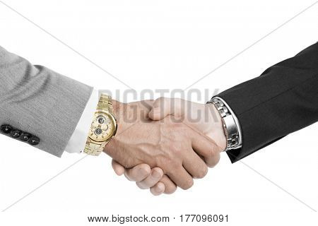 Bussines hand shaking isolated on white background closeup