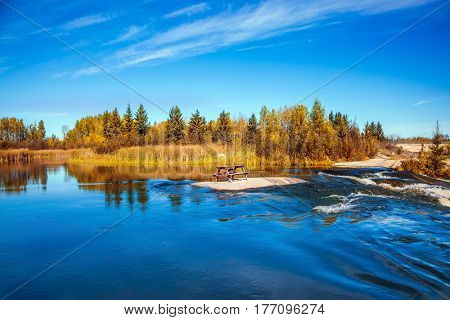 Landscape in the Old Pinawa Dam Park, Winnipeg River. Trend of travel