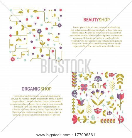 Vector set of logo design templates in trendy flat style with square flower arrangement and place for text. Perfect for  floral and organic shops, beauty and spa studios.