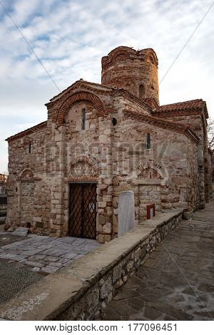 NESEBAR, BULGARIA - February 05, 2017: Saint John The Baptist church. In 1956 Nesebar was declared as museum city, archaeological and architectural reservation by UNESCO.