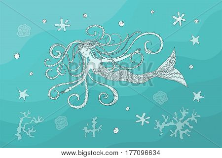 print with hand drawn swiming mermaid in zen style for home art decorate wall visit card book notebook posters banners. eps 10.