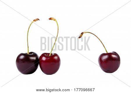 Three sweet cherries isolated on white background