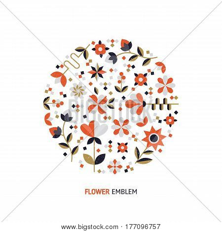 Vector simple logo design template in trendy flat style - abstract emblem for floral shops or studios, wedding florists  - circle with flowers and leaves. Flower arrangement  vector.