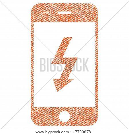 Electric Smartphone vector textured icon for overlay watermark stamps. Fabric orange vectorized texture. Symbol with unclean design. Rubber seal stamp with fiber textile structure.