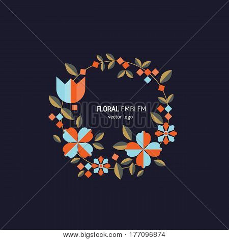 Vector simple logo design template in trendy flat style - abstract emblem for floral shops or studios, wedding florists  - wreath with flowers, leaves and berries.