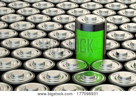 Background from batteries electrical energy and power supply source concept. 3D rendering