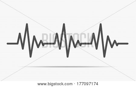 Gray heartbeat icon. Vector illustration. Heartbeat sign in flat design.