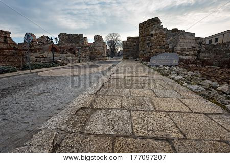 NESEBAR, BULGARIA- February 05, 2017: Ancient ruins in the old town.  In 1956 Nesebar was declared as museum city, archaeological and architectural reservation by UNESCO.
