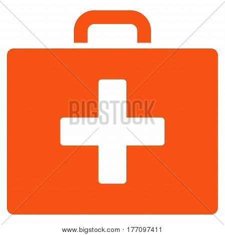 First Aid Bag vector icon. Flat orange symbol. Pictogram is isolated on a white background. Designed for web and software interfaces.