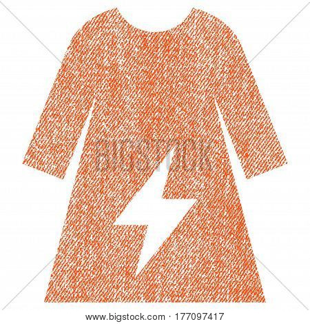 Electricity Female Dress vector textured icon for overlay watermark stamps. Fabric orange vectorized texture. Symbol with dust design. Rubber seal stamp with fiber textile structure.