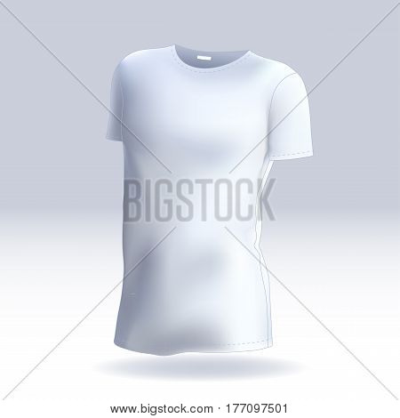 Vector male T-shirt template mock up for your design. Men's white casual wear. Created with gradient mesh.