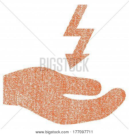 Electricity Supply Hand vector textured icon for overlay watermark stamps. Fabric orange vectorized texture. Symbol with scratched design. Rubber seal stamp with fiber textile structure.