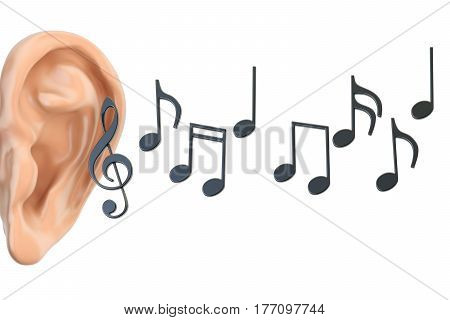 ear and music notes 3D rendering isolated on white background
