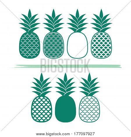 Creative pineapples vector illustrations isolated on white background