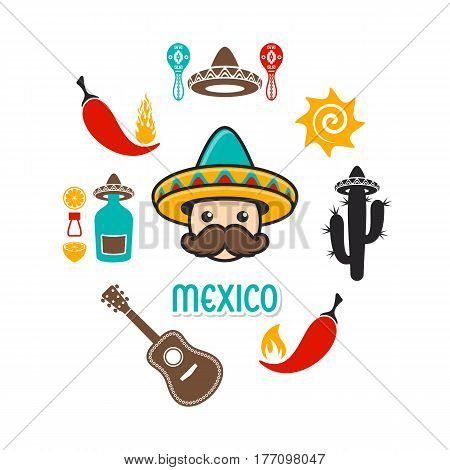 Creative vector card with mexico signs and icons
