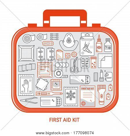 Red first aid kit with different objects inside. Medical equipment and medications for emergency. Vector medical icons set in modern liner style.