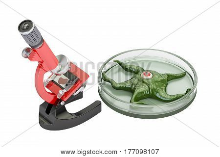 laboratory microscope with living organism scientific experiments and discoveries concept. 3D rendering