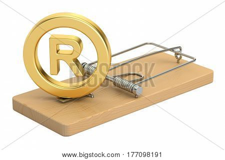 Mousetrap with registered trademark symbol 3D rendering
