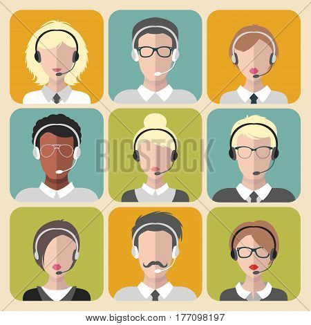 Vector set of different man and woman working in call center app icons in trendy flat style