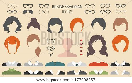 Big vector set of dress up constructor with different businesswoman haircuts, glasses, lips, wear, jewellery in trendy flat style. Female faces icon creator.