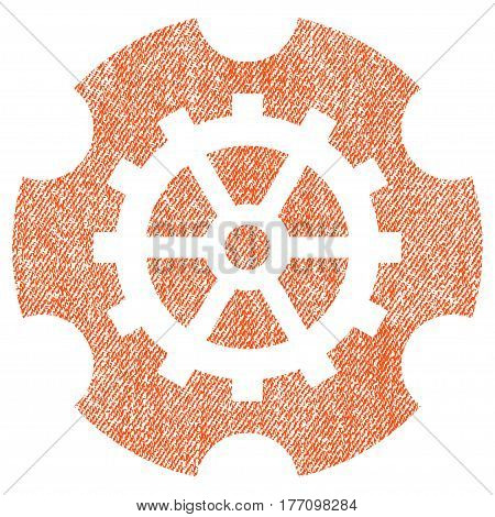 Gearwheel vector textured icon for overlay watermark stamps. Fabric orange vectorized texture. Symbol with scratched design. Rubber seal stamp with fiber textile structure.