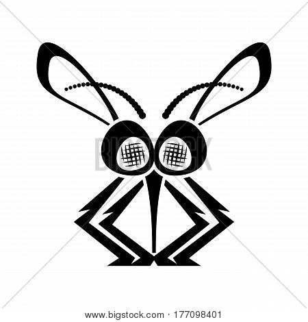 Black funny mosquito silhouette icon vector illustration isolated