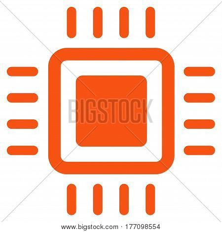 Processor vector icon. Flat orange symbol. Pictogram is isolated on a white background. Designed for web and software interfaces.