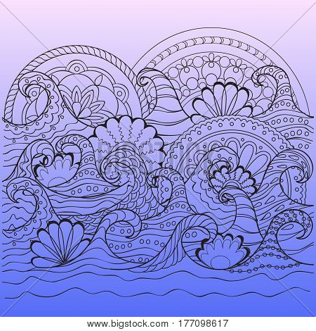 print with hand drawn decorated waves and mandalas in zen style for home art decorate wall visit card book notebook posters banners. eps 10.