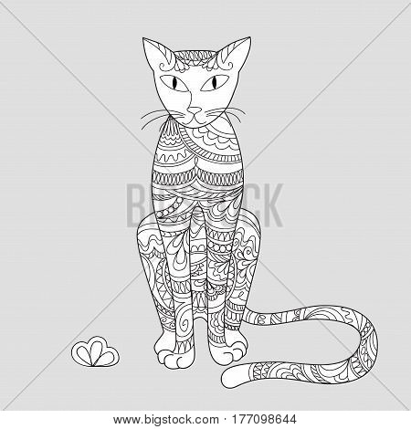 print with hand drawn patterned cat in zen style for home art decorate wall kids room book notebook posters banners. eps 10.