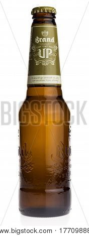 GRONINGEN, NETHERLANDS - MARCH 19, 2017: Bottle of Dutch Brand Up beer isolated on a white background