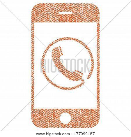 Phone vector textured icon for overlay watermark stamps. Fabric orange vectorized texture. Symbol with dust design. Rubber seal stamp with fiber textile structure.