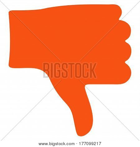 Thumb Down vector icon. Flat orange symbol. Pictogram is isolated on a white background. Designed for web and software interfaces.