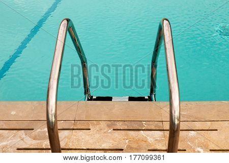 Stair swimming pool in beautiful luxury hotel pool resort