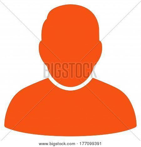 User vector icon. Flat orange symbol. Pictogram is isolated on a white background. Designed for web and software interfaces.