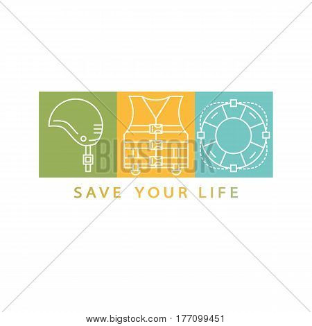 Original save life concept. Line style logotype template with helmet, life vest, life ring. Isolated on white background and easy to use. Perfect logo for your business. Vector symbols.