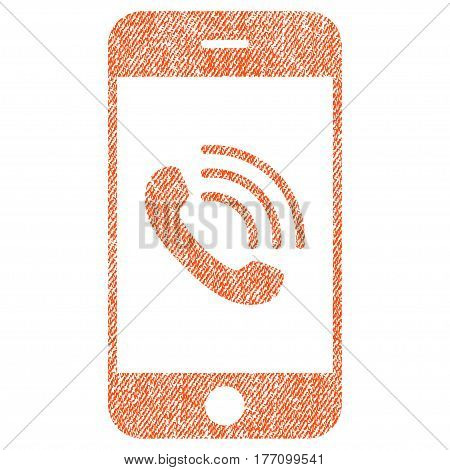 Smartphone Call vector textured icon for overlay watermark stamps. Fabric orange vectorized texture. Symbol with scratched design. Rubber seal stamp with fiber textile structure.