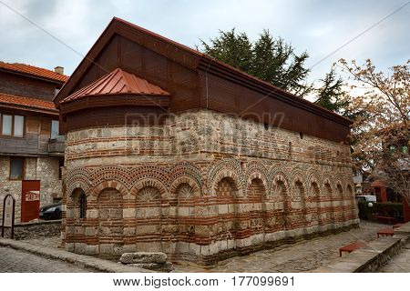 NESEBAR, BULGARIA - February 05, 2017: The Church of Saint Paraskevi, medieval Eastern Orthodox church in Nesebar. In 1956 Nesebar was declared as museum city, archaeological and architectural reservation by UNESCO.